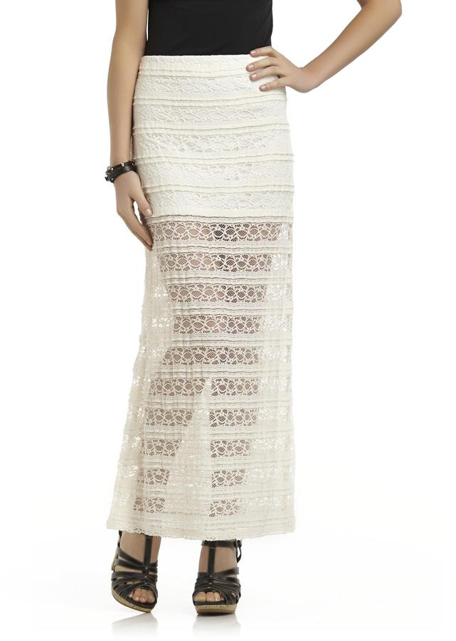 Heart Soul Juniors Sheer Bottom Crocheted Lace Maxi Skirt | Where ...