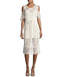 See by Chloe Cold Shoulder Macrame Midi Dress White