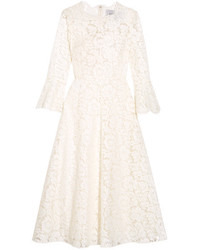 Valentino Corded Cotton Blend Guipure Lace Midi Dress Ivory