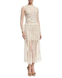 RED Valentino Redvalentino Long Sleeve Lace Macrame Midi Dress Ivory