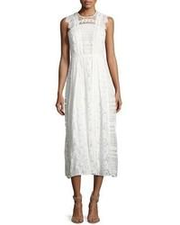 Burberry Sleeveless Mixed Lace Long Dress