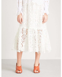 See by Chloe Ladies Snow White Floral Embroidered High Rise Lace Midi Skirt