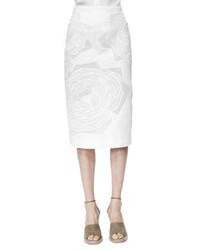 Stella McCartney Rose Applique High Waist Midi Skirt White