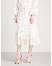 Temperley London Wondering Lace High Rise Chiffon Midi Skirt