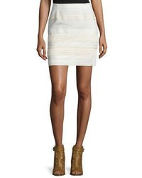 Belstaff Lace Skirt Wleather Trim Off White