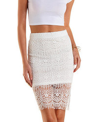 Charlotte Russe Bodycon Lace Midi Skirt