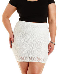 Charlotte Russe Plus Size Bodycon Lace Mini Skirt