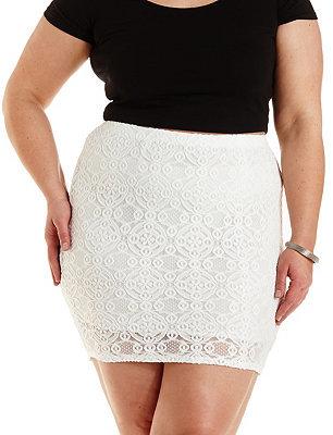 $25, Charlotte Russe Plus Size Bodycon Lace Mini Skirt
