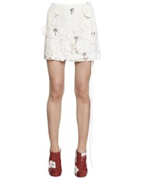 Hand embroidered lace mini skirt medium 1248799