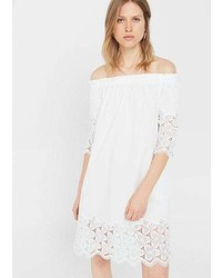 Mango Off Shoulder Poplin Dress