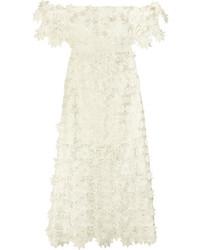Off the shoulder guipure lace midi dress white medium 3778325
