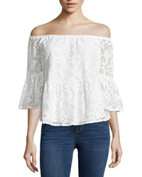 Ana Ana Off The Shoulder Peplum Lace Blouse