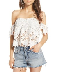 Astr The Label Adela Off The Shoulder Lace Top