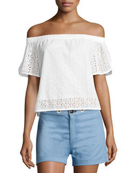 Rag & Bone Flavia Eyelet Lace Off The Shoulder Short Sleeve Top