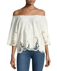 Ella Moss Jadeynn Off The Shoulder Lace Top Natural