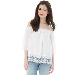 Juniors Iz Byer California Lace Hem Off Shoulder Top