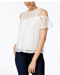 BCX Juniors Lace Illusion Cold Shoulder Top