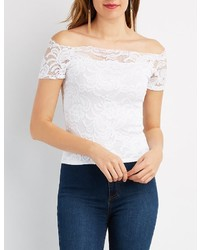 Charlotte Russe Lace Off The Shoulder Skimmer Top