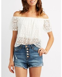 Charlotte Russe Lace Off The Shoulder Top