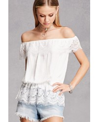 Forever 21 Lace Trim Off The Shoulder Top