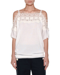 Agnona Lace Trim Off The Shoulder Top White