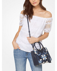 Michael Kors Michl Kors Eyelet Cotton Off The Shoulder Top