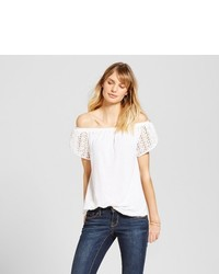 Merona Off The Shoulder Lace Sleeve Top