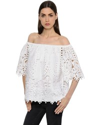 Temperley London Off The Shoulders Macram Lace Top