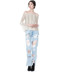 Alice + Olivia Off White Shera Off Shoulder Trumpet Sleeve Top