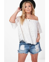 Boohoo Plus Hollie Off The Shoulder Lace Smock Top