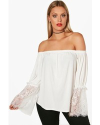 Boohoo Plus Milly Lace Sleeve Off The Shoulder Top
