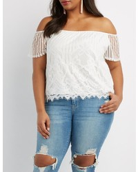 Charlotte Russe Plus Size Eyelash Lace Off The Shoulder Top