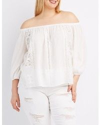 Charlotte Russe Plus Size Lace Trim Off The Shoulder Top