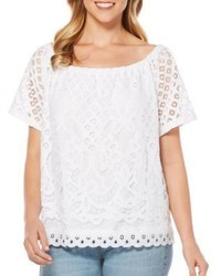 Rafaella Raflla Off The Shoulder Scalloped Lace Top