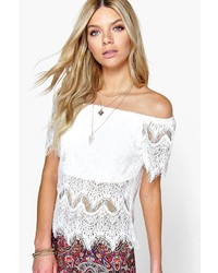 Boohoo Sarah Eyelash Lace Off The Shoulder Top