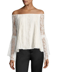 Alice + Olivia Shera Off The Shoulder Trumpet Sleeve Lace Blouse