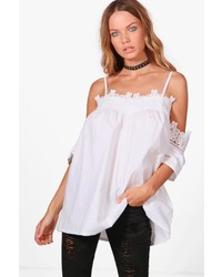 Boohoo Stella Off The Shoulder Lace Trim Top