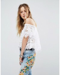 Free People Sweet Dreams Lace Off Shoulder Crop Top