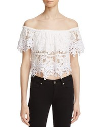 Free People Sweet Dreams Lace Off The Shoulder Crop Top