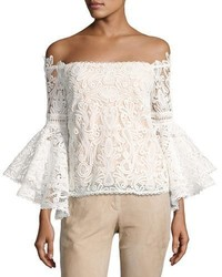 Thea off the shoulder lace top white medium 3651256