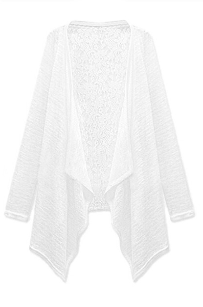 Romwe Asymmetric Open Front Lace White Cardigan | Where to buy ...