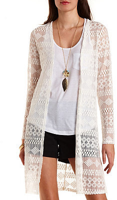 Charlotte Russe Long Sleeve Lace Duster Cardigan | Where to buy ...