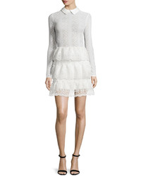 Self-Portrait Long Sleeve Tiered Scalloped Lace Dress Off White