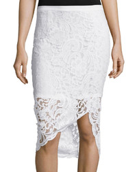Bisou Bisou Asymmetrical Lace Pencil Skirt