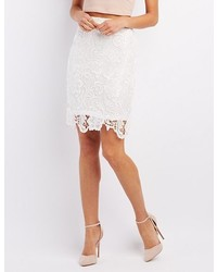 Charlotte Russe Floral Lace Pencil Skirt