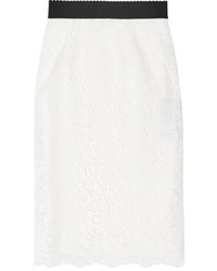 Dolce & Gabbana Corded Lace Pencil Skirt Ivory