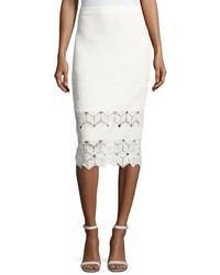 Rebecca Taylor Diamond Lace Pencil Skirt White