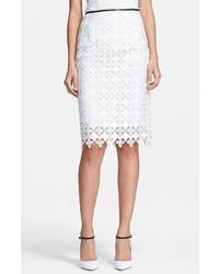 Erdem Leather Trim Lace Pencil Skirt White 14