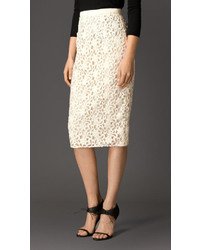Burberry Floral Lace Pencil Skirt
