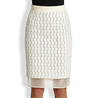 Giambattista Valli Embroidered Lace Silk Pencil Skirt Ivory ...